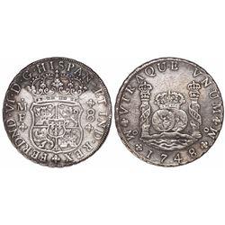 Mexico City, Mexico, pillar 8 reales, Ferdinand VI, 1748MM.