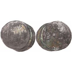 Clump of 3 Spanish colonial bust 8 reales of Charles III.
