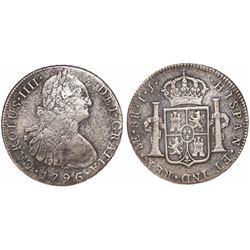 Lima, Peru, bust 8 reales, Charles IV, 1796IJ.