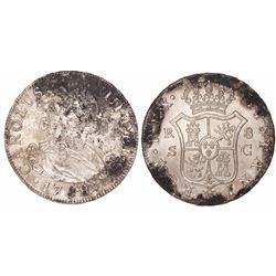 Seville, Spain, bust 8 reales, Charles IV, 1788C.