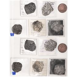 Lot of 6 coins from well-known wrecks, as follows: Potosi cob 8R Santa Margarita (1622); Mexico cob