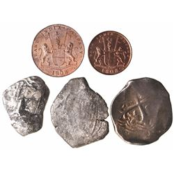 Lot of 5 coins from popular shipwrecks: Mexico cob 8R from the Concepcion (1641); Potosi cob 8R 1678