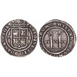 """Mexico City, Mexico, 1 real, Charles-Joanna, """"Late Series,"""" assayer A to right, mintmark M to left."""