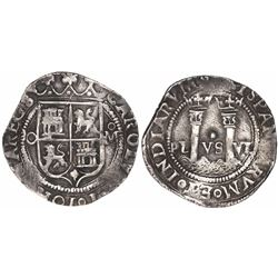 """Mexico City, Mexico, 1 real, Charles-Joanna, """"Late Series,"""" assayer O to left, mintmark oM to right."""