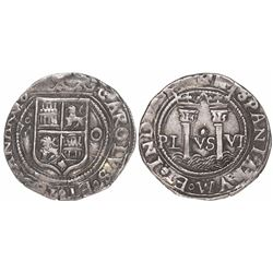 """Mexico City, Mexico, 1 real, Charles-Joanna, """"Late Series,"""" assayer O to right, mintmark oM to left."""