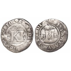 """Mexico City, Mexico, 1/2 real, Charles-Joanna, """"Late Series,"""" assayer G to right, mintmark M to left"""