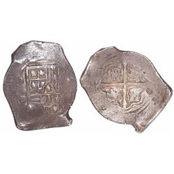 Mexico City, Mexico, cob 8 reales, Philip IV, assayer P, with tiny chopmarks as from circulation in
