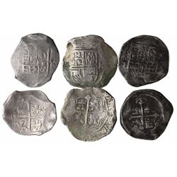 Lot of 3 Mexico City, Mexico, cob 8 reales, Philip III and IV, assayers F and not visible.
