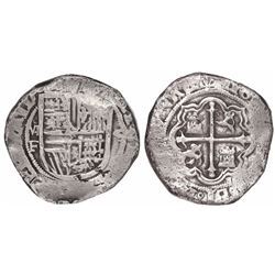 Mexico City, Mexico, cob 4 reales, Philip II, assayer F below oM mintmark to left, denomination 4 to
