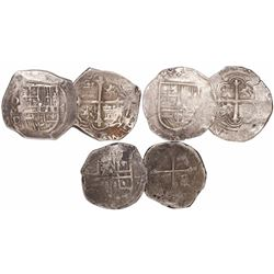 Lot of 3 Mexico City, Mexico, cob 4 reales, Philip III and IV, assayers F, D and not visible.
