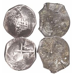 Lot of 2 Mexico City, Mexico, cob 4 reales, Philip IV, assayers not visible.