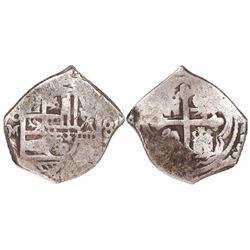 "Mexico City, Mexico, cob 4 reales, Philip V, assayer J, denomination ""8"", rare."