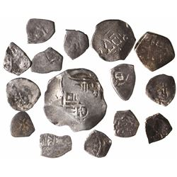 Lot of 15 Mexican cob minors (one 4R, two 2R and twelve 1/2R), Philip IV through Philip V.