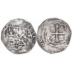 Mexico City, Mexico, cob 2 reales, Philip II, assayer O below mintmark oM to right.