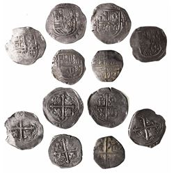 Lot of 6 Mexico City, Mexico, cob 2 reales, Philip II-IV, assayers F and not visible, including one