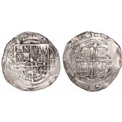 Mexico City, Mexico, cob 1 real, Philip II, assayer F below mintmark 8-M (instead of oM) to left, qu