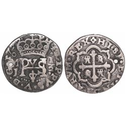 Mexico City, Mexico, cob 1/2 real Royal, 1722J.