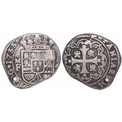 Mexico City, Mexico, klippe 4 reales, 1733MF.