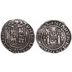 Lima, Peru, 2 reales, Philip II, assayer R (Rincon) to left, motto PL-VSVL-TR, legends HISPA / NIARV