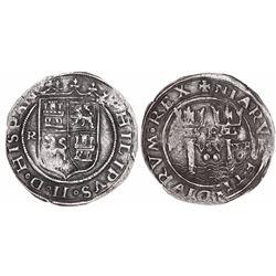 Lima, Peru, 2 reales, Philip II, assayer R (Rincon) to left, motto PL-VSV-TR, legends HISPAN / NIARV
