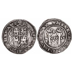 Lima, Peru, 2 reales, Philip II, assayer R (Rincon) to left, motto PL-VSV-LT, legends HISPA / NIARVM