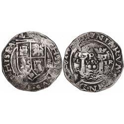Lima, Peru, 2 reales, Philip II, assayer R (Rincon) to right, motto PL-VSV-TR, legends HISPA / NIARV