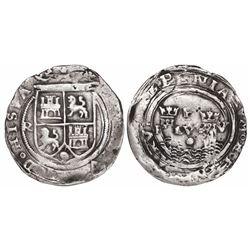 Lima, Peru, 1 real, Philip II, assayer R (Rincon) to left, motto P-LVS-V, legends HISPA / NIARVM.