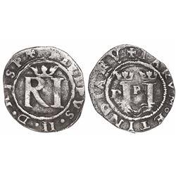 Lima, Peru, 1/2 real, Philip II, assayer R (Rincon) to left, legends HISP / IARVM.