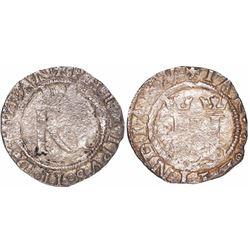 Lima, Peru, 1/2 real, Philip II, assayer R (Rincon) to left, legends HISPAN / IARVM.