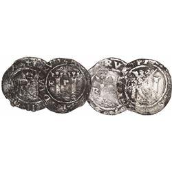 Lot of 2 Lima, Peru, 1/2R, Philip II, assayer R (Rincon) to left.