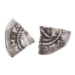 Quarter cut of a Lima, Peru, 1/2 real, Philip II, assayer R (Rincon) to left.
