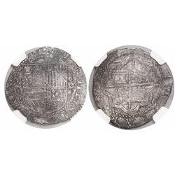 Lima, Peru, cob 2 reales, Philip II, assayer Diego de la Torre, P-ii to left, oD-* to right, encapsu