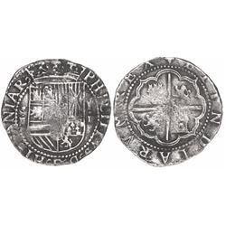 Lima, Peru, cob 2 reales, Philip II, assayer Diego de la Torre, *-ii to left, P•D to right.