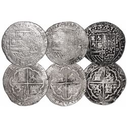Lot of 3 Lima, Peru, cob 2 reales, Philip II, assayer Diego de la Torre, *-ii to left, P-oD to right
