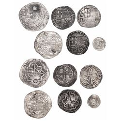Lot of 6 Lima, Peru, cob minors (two 2R, three 1R and one 1/4R) of Philip II, assayer Diego de la To