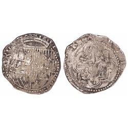 Lima, Peru, cob 1 real, Philip II, assayer Diego de la Torre, (*-I) to left, P-oD to right.