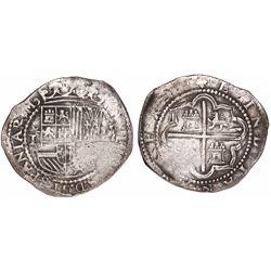 Lima, Peru, cob 1 real, Philip II, assayer Diego de la Torre, *-I to left, P-(oD) to right.
