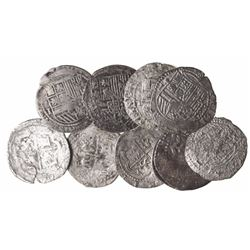 Lot of 10 Lima, Peru, cob 1R, Philip II, assayer Diego de la Torre, various varieties.