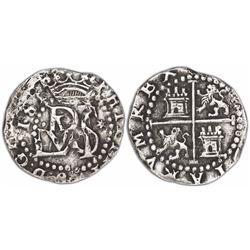 Lima, Peru, cob 1/2 real, Philip II, assayer Diego de la Torre, •D to left, * to right of monogram.
