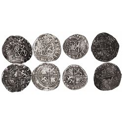 Lot of 4 Lima, Peru, cob 1/2R, Philip II, assayer Diego de la Torre, various varieties.