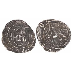 Lima, Peru, cob 1/4 real, Philip II, assayer Diego de la Torre, I-* flanking castle, oD-* flanking l
