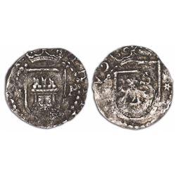 Lima, Peru, cob 1/4 real, Philip II, assayer Diego de la Torre, *-P flanking castle, * to right of l
