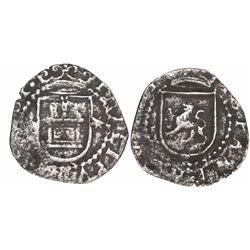 Lima, Peru, cob 1/4 real, Philip II, assayer Diego de la Torre, oD-* flanking castle, ex-Mark Bir.