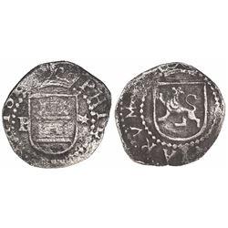 Lima, Peru, cob 1/4 real, Philip II, assayer Diego de la Torre, P-* flanking castle, ex-Mark Bir.