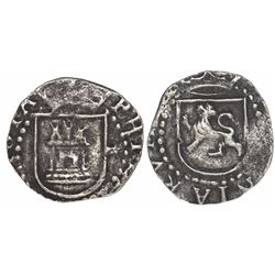 Lima, Peru, cob 1/4 real, Philip II, assayer Diego de la Torre, * to right of castle.