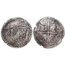 "Lima, Peru, cob 8 reales, ""Star of Lima"" type, 1660V (Series III), encapsulated NGC VF 25, very rare"