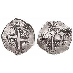 Lima, Peru, cob 4 reales, 1686R.