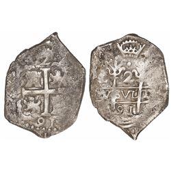 Lima, Peru, cob 2 reales, 1691(R ).