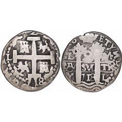 Lima, Peru, cob 2 reales Royal, 1718M, rare.