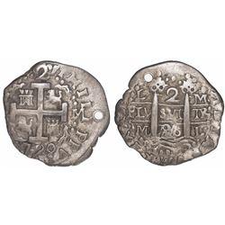 Lima, Peru, cob 2 reales Royal, 1720M, rare, ex-Christensen.